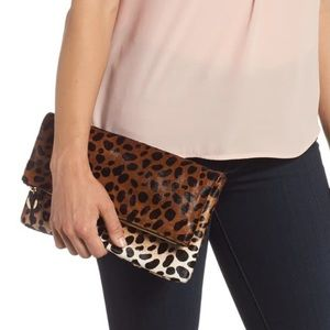 Clare V. Genuine calf hair fold-over clutch